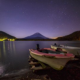 Starry Night by Nyoman Sundra - Landscapes Starscapes ( japan, mountain, yamanashi, star, fuji, starry )