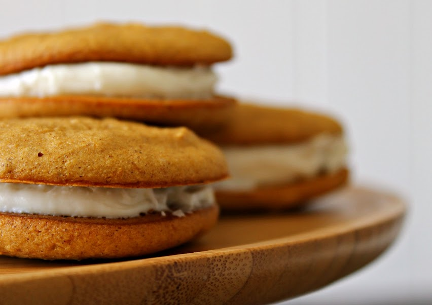 Pumpkin Whoopie Pies with Cream Cheese Frosting Filling