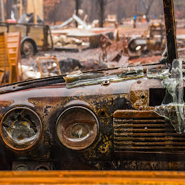 Drive with a view by Michael Mercer - Artistic Objects Antiques ( melted glass, junkyard, fire, perspective, classic cars )