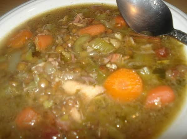 Ham/chicken Lentil Soup, Caldo De Lentejas Con Pollo Y Jamon