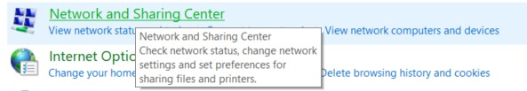 The Network and Sharing Center option