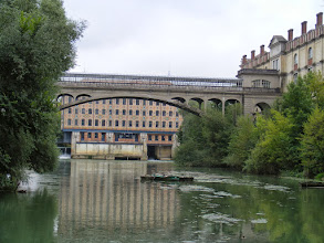 Photo: This area of the river is dominated by the buildings of the Menier factory (no longer operating) for chocolate processing.