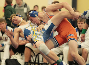Photo: 132 Blake Bietz (Parkston) over Michael Preuss (Adrian ) Dec 8-5. Photo by Jeff Beshey.