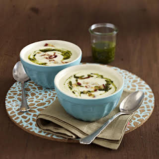 Salsify Soup with Green Pesto.