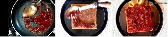 making and spreading the fruit jam over the sponge cake to make honey cake recipe