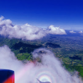 by Jenna Irey - Transportation Airplanes ( mountains, pilot, shadow, sunshine, flight attendant, wong, punta cana, american, clouds, adventure, rainbow, blue, passenger, dominican republic, airplane, contrast, airlines, travel,  )