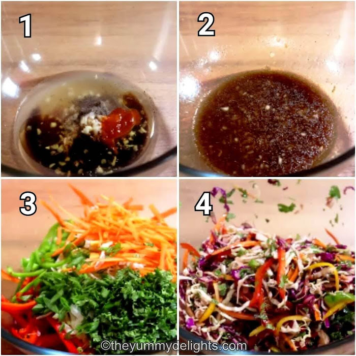 step by step collage of making crunchy asian slaw recipe