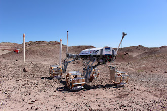 Photo: The ERIS Project ARES ROVER contemplates the infamous 1 meter drop gate