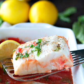 4-Ingredient Baked Fish with Tomato and Basil Sauce.