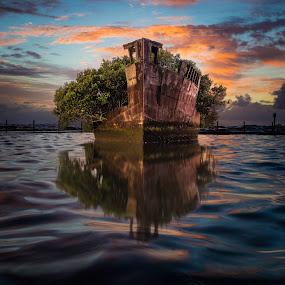 by Rebecca Ramaley - Transportation Boats ( ss ayrfield, superimposed, homebush bay, sunrise )