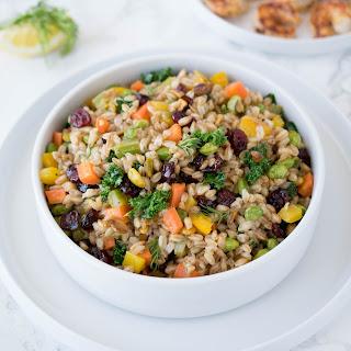 Warm Farro Salad with Cranberries & Pistachios Recipe
