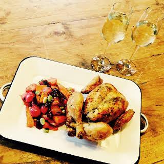 Roast Chicken with Summer Glazed Vegetables.