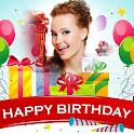 Birthday photo frame greeting icon