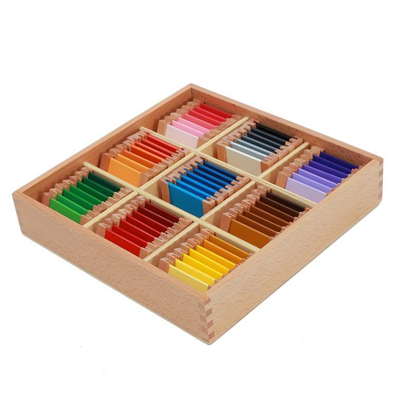 boite bois tri couleurs jaune vert bleu orange rouge activité montessori paires