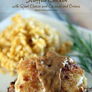 Goat Stuffed Chicken Breast with Caramelized Onions