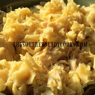 CROCK POT CHICKEN AND NOODLES.