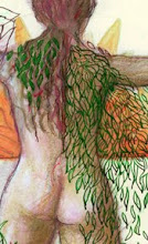 """Photo: 'Lady of Green Fire/Greet the Sun,' 20.5cm x 29cm, 8"""" x 11.5"""", India inks, Waterman sepia ink, gel pens, oil pastels, watercolour pencils, Moleskine sketchbook. [detail]   This and the last one, Wing of Chrysalides, are mystical drawings."""