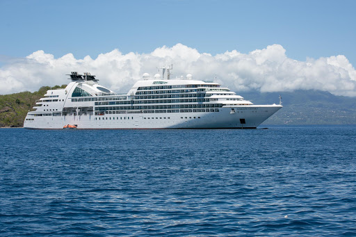 The luxury ship Seabourn Odyssey anchored in Guadeloupe.