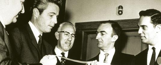 Photo: CSC's Founders, Fletcher Jones (left) and Roy Nutt (2nd from right).