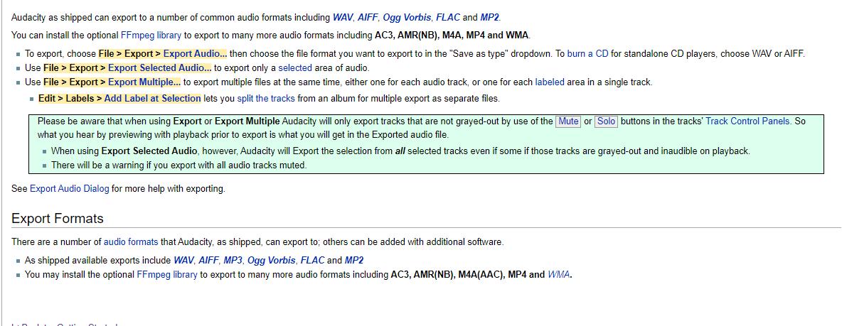 screenshots of export instructions for Audacity WAV files