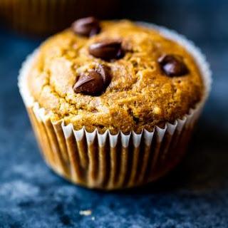 Healthy Pumpkin Chocolate Chip Muffins.