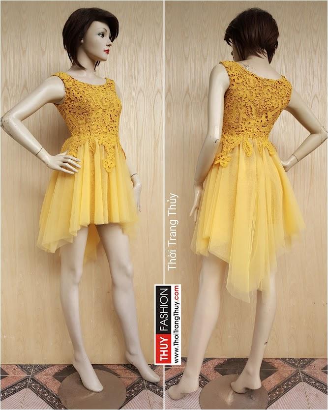 Váy dự tiệc dáng xoe phối ren và vải lưới V406 Thời Trang Thủy