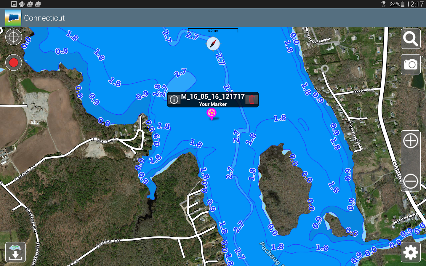 Aqua Map Connecticut Lakes GPS- screenshot
