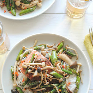 Seared Salmon with Mushrooms and Asparagus over Coconut Noodles