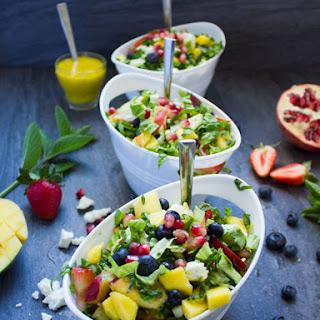 Fruity Greek Salad With Sweet Mango Salad Dressing.