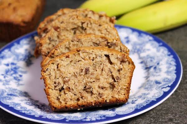 Slices Of Caramelized Banana Bread On A Plate.