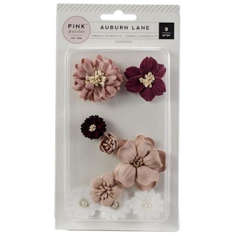 Pink Paislee Dimensional Paper Flowers 9/Pkg - Auburn Lane  UTGÅENDE