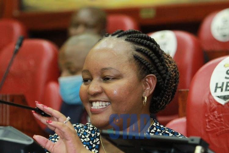 Kirinyaga Governor Anne Waiguru talks during her impeachment hearing at the Senate on June 23, 2020