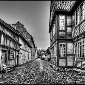 Old Town...Norwegian Folk Museum by Svein Hurum - Black & White Buildings & Architecture
