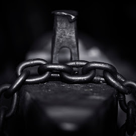 Freedom by James Johnstone - Black & White Objects & Still Life ( black & white, coleford, chain, museum, anvil, railway, great western )