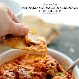Slow Cooker Smoked Sausage and Cheddar Cheese Dip.