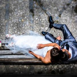 Wedding by Jurica Žumberac - Wedding Bride & Groom ( love, wedding, street, stones, marriage, bride, groom )