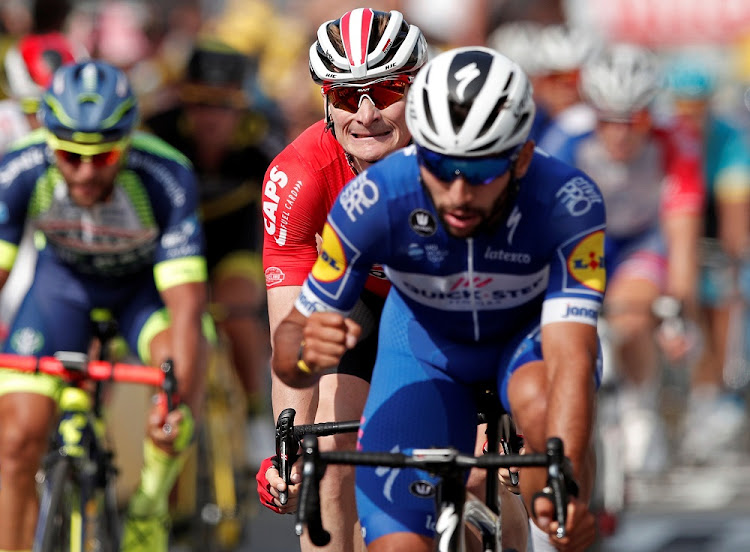 Floors rider Fernando Gaviria of Colombia celebrates after crossing the finish at the Tour de France, July 10 2018. Picture: REUTERS