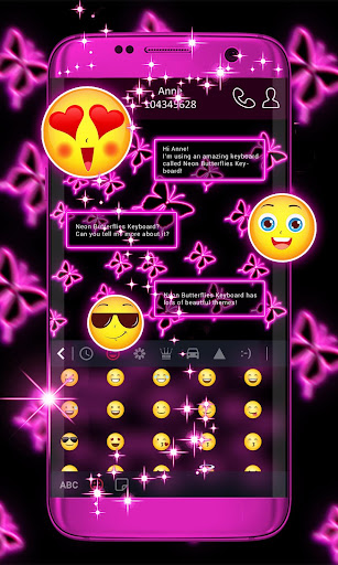 Neon Butterflies Keyboard screenshot