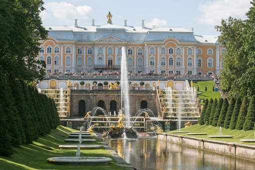 The famed Grand Cascade at Peterhof Palace near St. Petersburg, Russia. Peterhof is the world's largest palace and park complex.