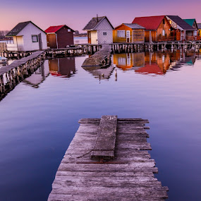 House on the Lake by Bela Paszti - Buildings & Architecture Places of Worship ( calm, water, footpath, hungary, oroszlany, wood, waterscape, house, 2015.12.30, landscape, sky, wooden, sunset, fishing, nikon, bokod,  )