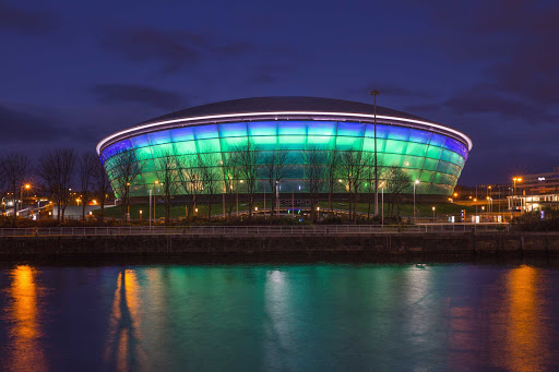 SSE Hydro arena is located on the site of the Scottish Exhibition and Conference Centre in Glasgow, Scotland.