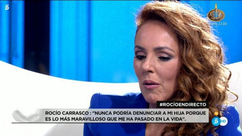 Rocío Carrasco, durante la entrevista (Foto: Telecinco).