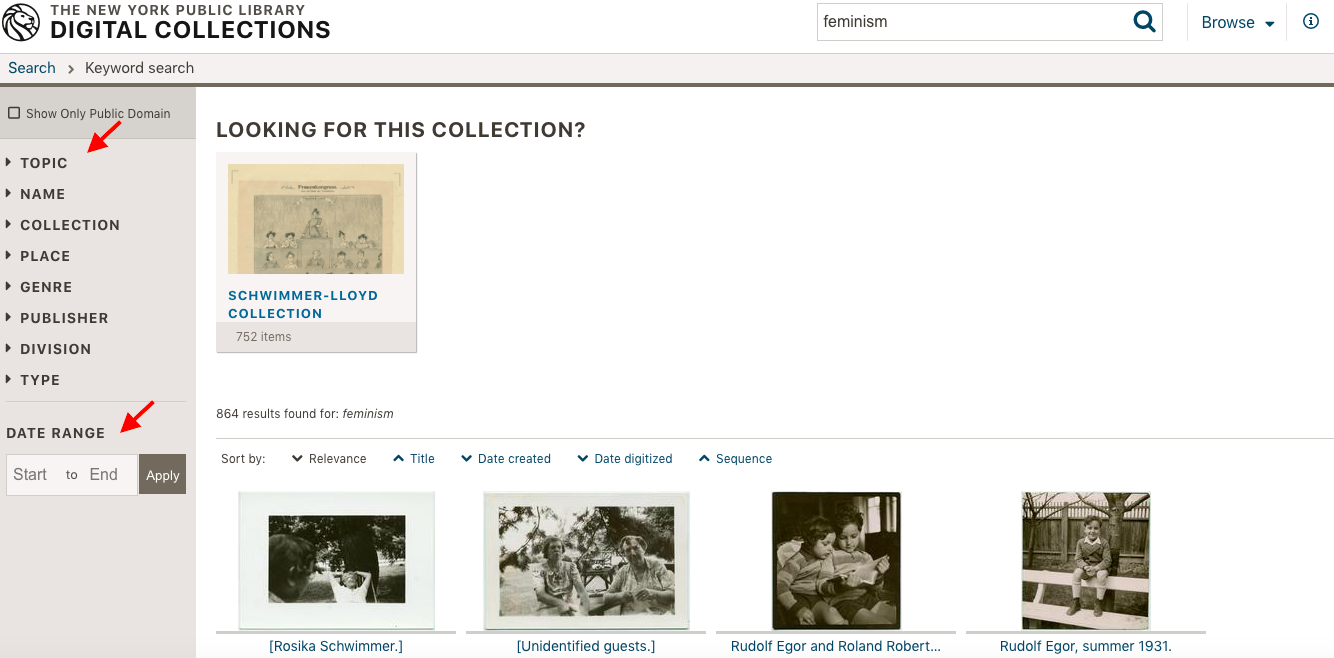 NYPL digial collections with arrows poting to topic and date range