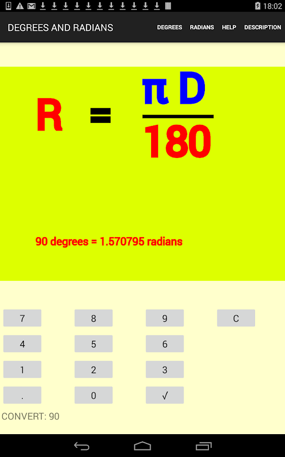 how to change radians to degrees