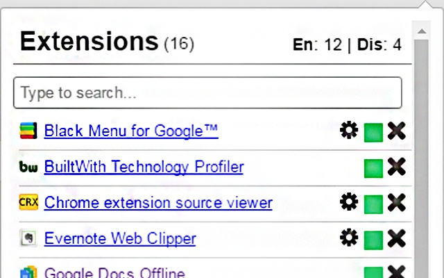 1-Click Extension Manager chrome extension