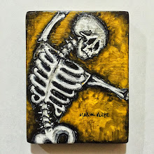 Photo: Calaveras no. 52.  4 3/4 x 6 1/4 x 3/4 inches.  Mixed medium on wood.  Signed and sealed.  Ready to hang.  ©Marisol Mckee