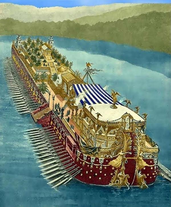 Os navios dos prazeres de Calígula no lago Nemi