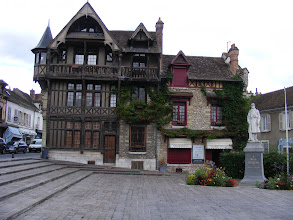 Photo: This impressive timbered building in the center of town is adjacent to a WW I memorial.