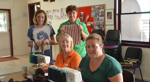 Back, Hayley Trudgeon and Kate Anderson (Walgett), front, Ros Hall and Jess Stokes at a Days for Girls sewing session at the Anglican Church hall in Narrabri on Saturday, April 8.