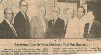 Photo: Frank Pryatel, Bill Ottinger, Bob Telfair, John Brim, Jack Duncan, James McGinnis, Milt Lindsey - Four Way Test Program at Deltona Junior High School - June 25, 1983